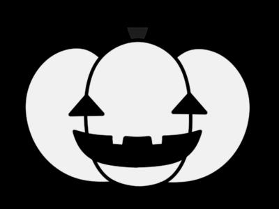 ハロウィン かぼちゃ ジャック・オー・ランタン 白黒フリー素材 モノクロ
