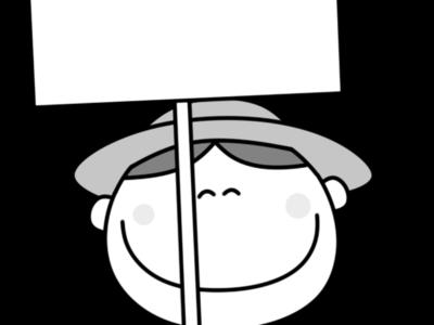 プラカード 帽子の男の子 白黒フリー素材