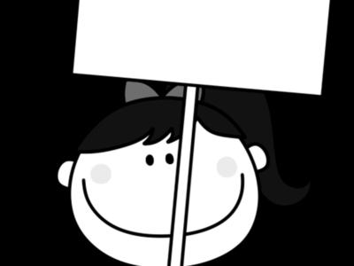 プラカード ポニーテールの女の子 白黒フリー素材 文字入れ