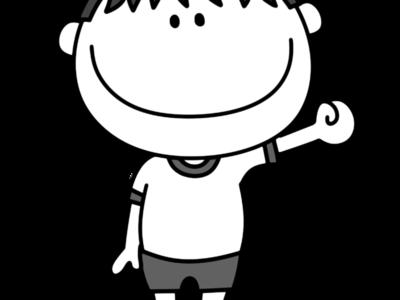 体操服の男の子 白黒フリー素材 紅白帽白