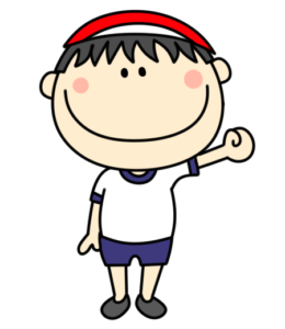 体操服 紅白帽 男の子 フリー素材 紅組
