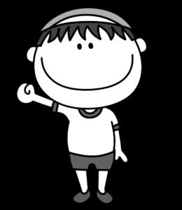 体操服の男の子 白黒フリー素材 紅白帽赤