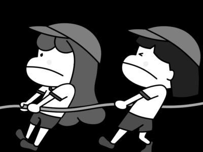 綱引き 運動会白黒フリー素材 女の子 紅組