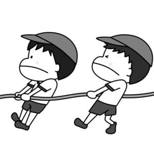 綱引き 運動会白黒フリー素材 男の子 紅組