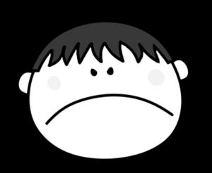 怒る プンプン 男の子 白黒フリー素材