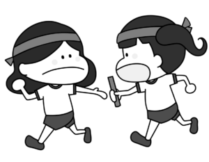 運動会 リレー 女の子 白黒フリー素材