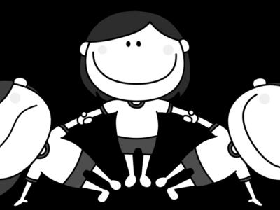 運動会 組み体操 扇 女の子 白黒フリー素材