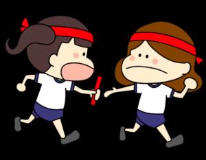 運動会 リレー 女の子 フリー素材