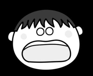 ショック ガーン 男の子 白黒フリー素材