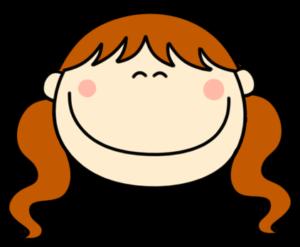 笑顔 にっこり ツインテールの女の子 フリー素材