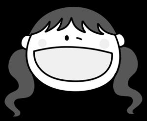 ウィンク ツインテールの女の子 白黒フリー素材