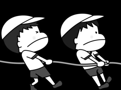 運動会白黒フリー素材 綱引き 男の子 白組