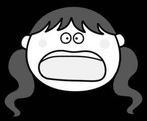 驚く ビックリ ツインテールの女の子 白黒フリー素材