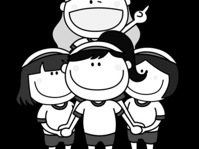 騎馬戦 白黒フリー素材 運動会 女子白組