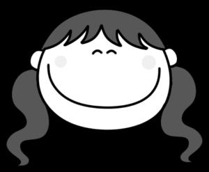 笑顔 にっこり ツインテールの女の子 白黒フリー素材