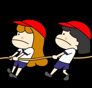 綱引き 運動会フリー素材 女の子 紅組