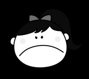 怒る プンプン 女の子 白黒フリー素材