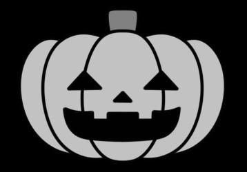 ハロウィン かぼちゃ 白黒フリー素材 ジャック・オー・ランタン