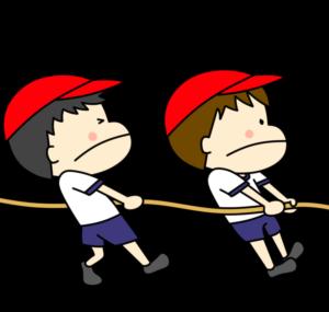 運動会フリー素材 綱引き 男の子 紅組