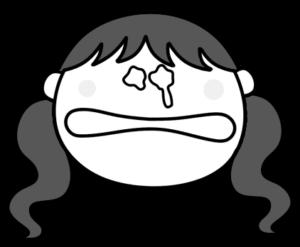 泣く ツインテールの女の子 白黒フリー素材