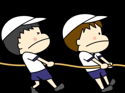 綱引き 運動会フリー素材 男の子 白組