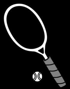 テニスボール ラケット 白黒フリー素材