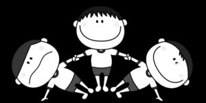 運動会 組み体操 扇 男の子 白黒フリー素材