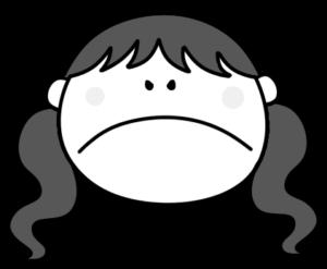 怒る ツインテールの女の子 白黒フリー素材