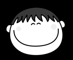 笑顔 にっこり 男の子 白黒フリー素材