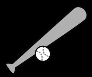 野球ボール バット 白黒フリー素材