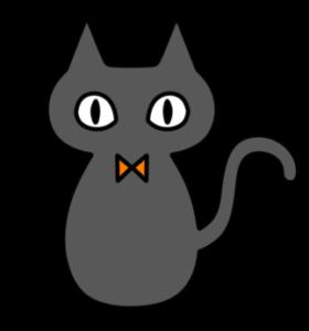 ハロウィン 黒猫 フリー素材 右向き