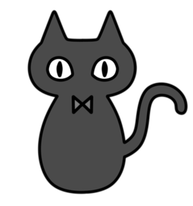 ハロウィン 黒猫 白黒フリー素材 右向き