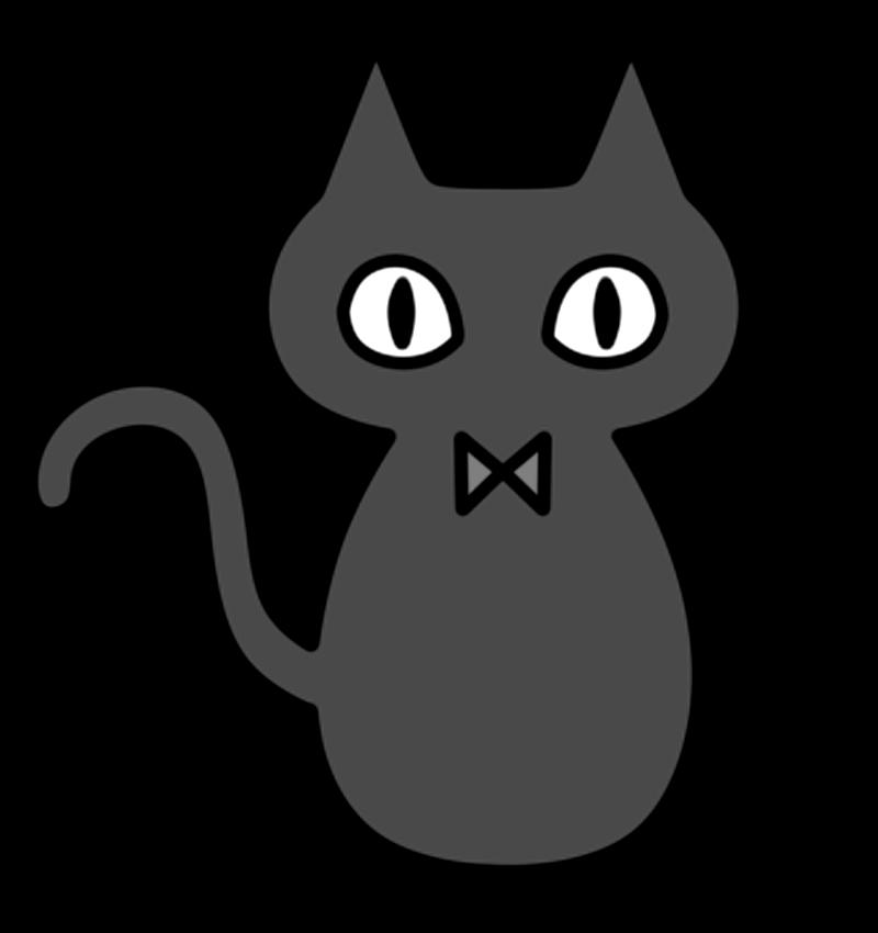 ハロウィンの黒猫の白黒フリー素材 フリーイラストの かくぬる素材工房