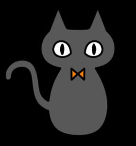 ハロウィン 黒猫 フリー素材 左向き