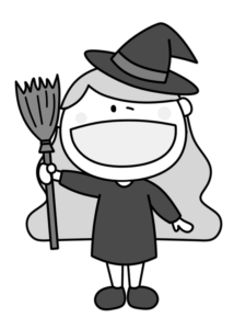 ハロウィン 魔女コスプレ 白黒フリー素材