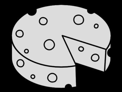 チーズ 丸 円形 白黒フリー素材