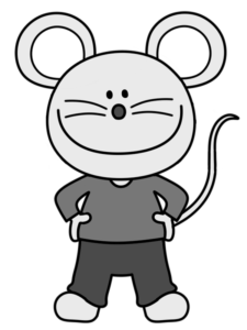 ネズミの男の子のイラスト 白黒フリー素材