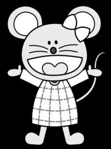 ネズミの女の子のイラスト 白黒フリー素材