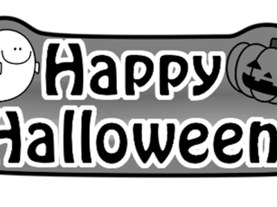 ハロウィンロゴ 白黒フリー素材 おばけ かぼちゃ