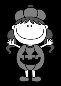 ハロウィン かぼちゃ衣装 女の子 白黒フリー素材