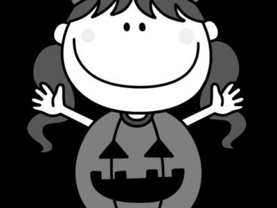 ハロウィン かぼちゃ衣装 白黒フリー素材