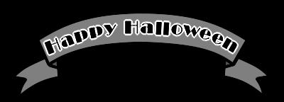 ハロウィンロゴ リボン 白黒フリー素材