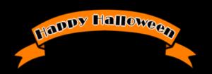 ハロウィンロゴ リボン フリー素材 オレンジ