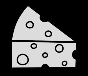 チーズ 三角 白黒フリー素材