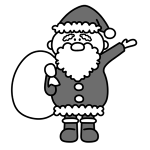 サンタクロース 全身 クリスマス 白黒フリー素材