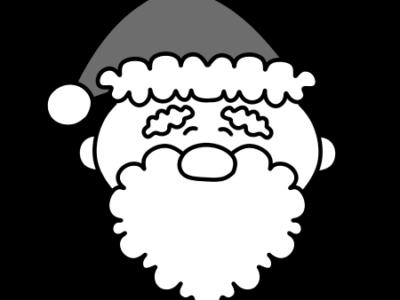 サンタクロース 笑顔 クリスマス白黒フリー素材 左向き