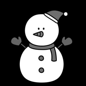 雪だるま 白黒フリー素材 クリスマス 右向き