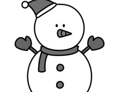 雪だるま 白黒フリー素材 クリスマス 左向き