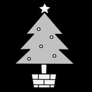 クリスマスツリー 白黒フリー素材