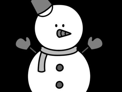 雪だるま 白黒フリー素材 左向き